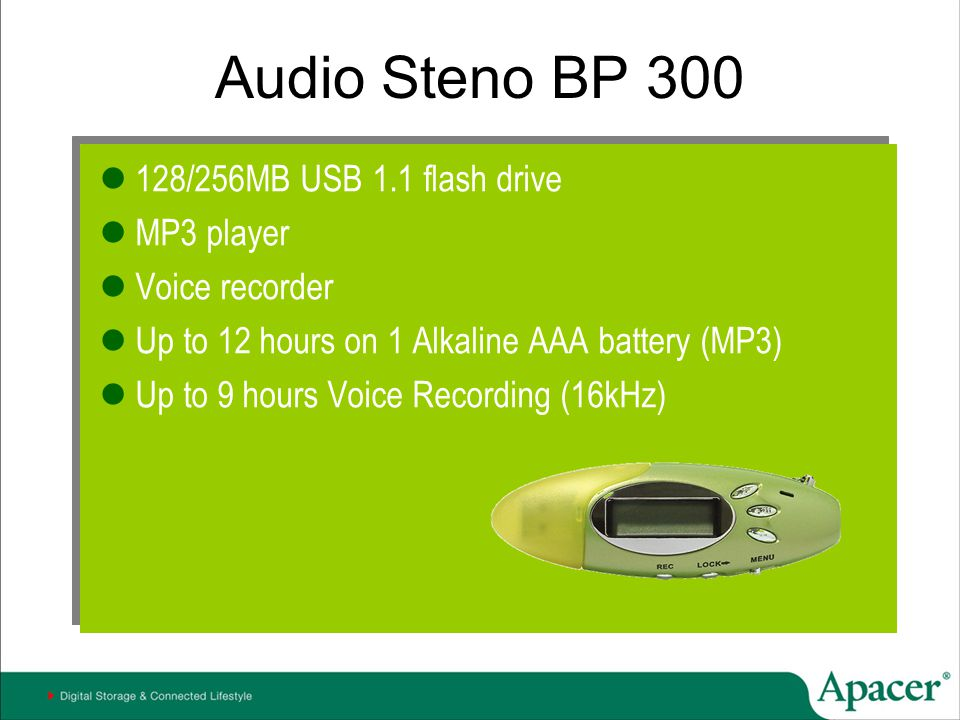 Audio Steno BP 300 128/256MB USB 1.1 flash drive MP3 player