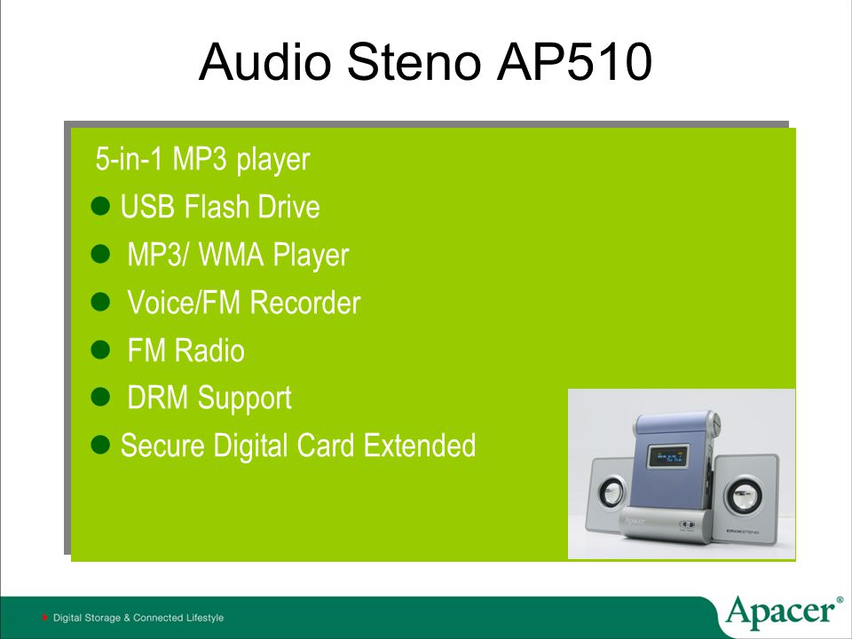 Audio Steno AP510 5-in-1 MP3 player USB Flash Drive MP3/ WMA Player