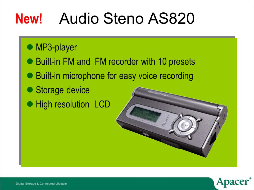 Audio Steno AS820 New! MP3-player