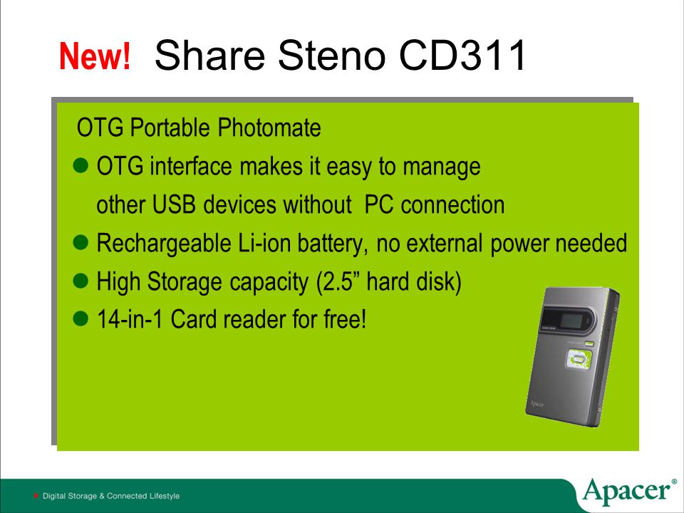 Share Steno CD311 New! OTG Portable Photomate