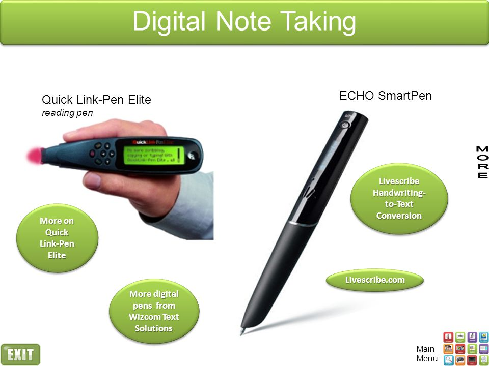 Digital Note Taking ECHO SmartPen Quick Link-Pen Elite reading pen