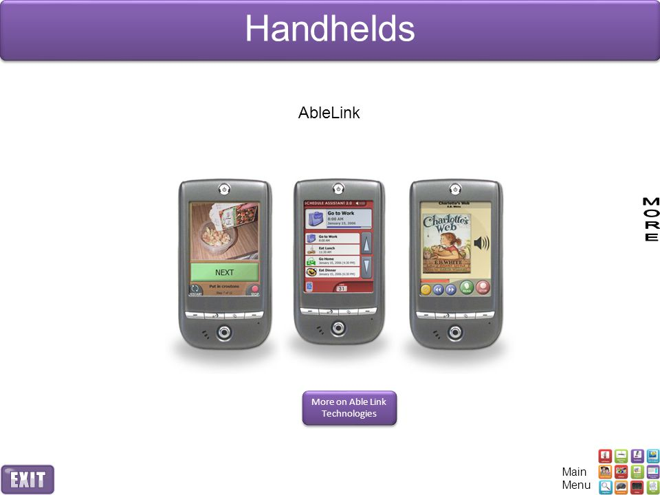 Handhelds AbleLink More on Able Link Technologies Main Menu