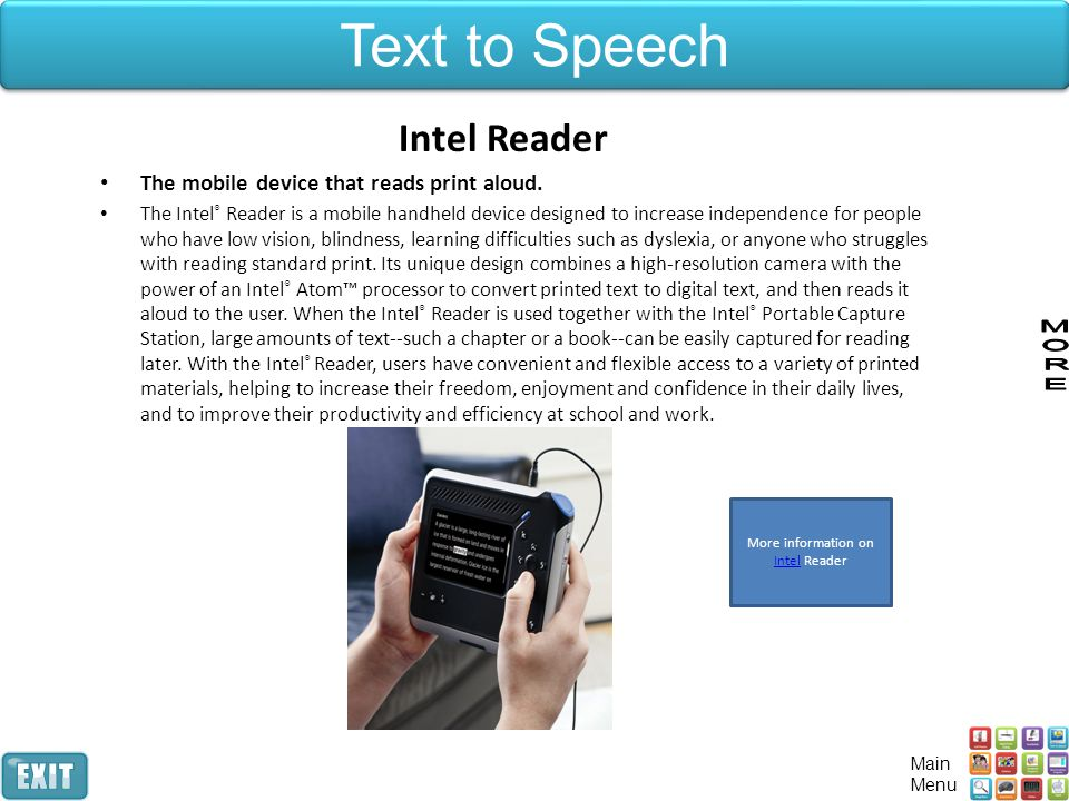 More information on Intel Reader