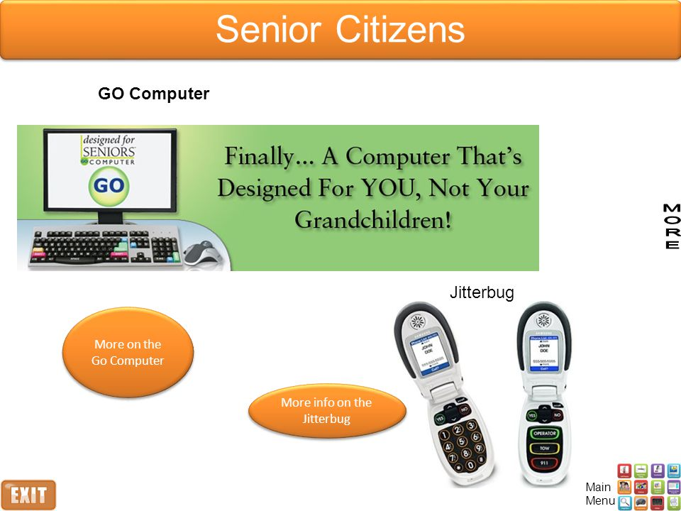Senior Citizens GO Computer Jitterbug More on the Go Computer