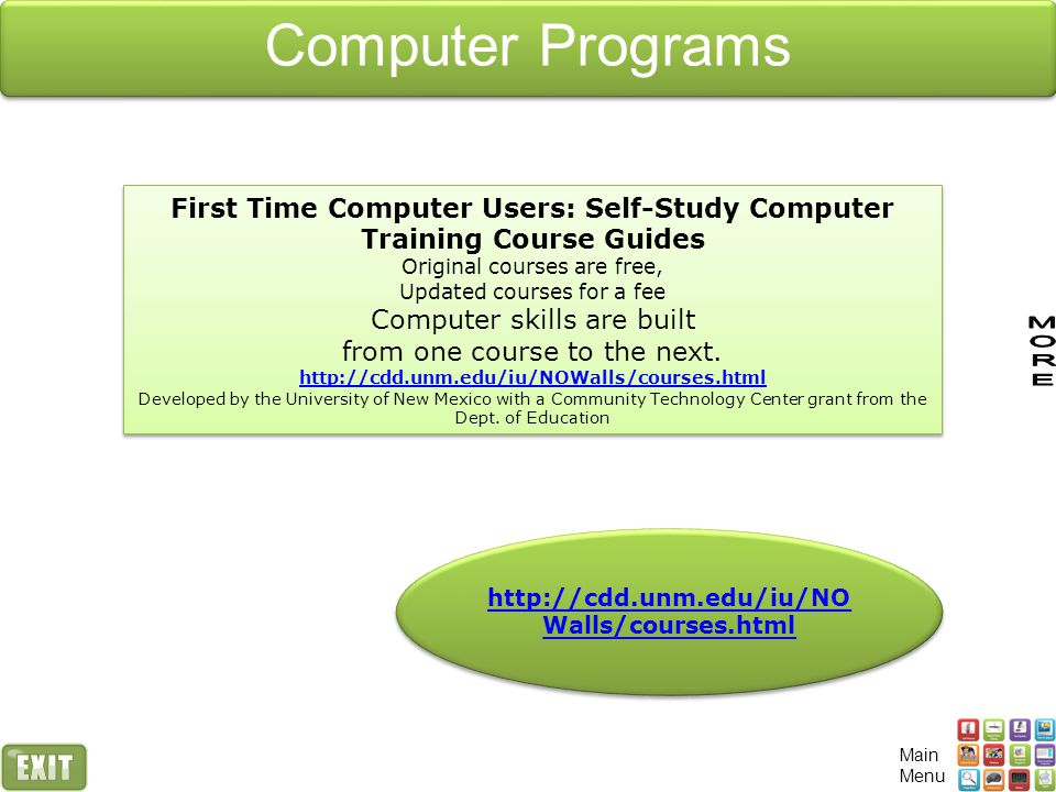 Computer Programs First Time Computer Users: Self-Study Computer Training Course Guides. Original courses are free,