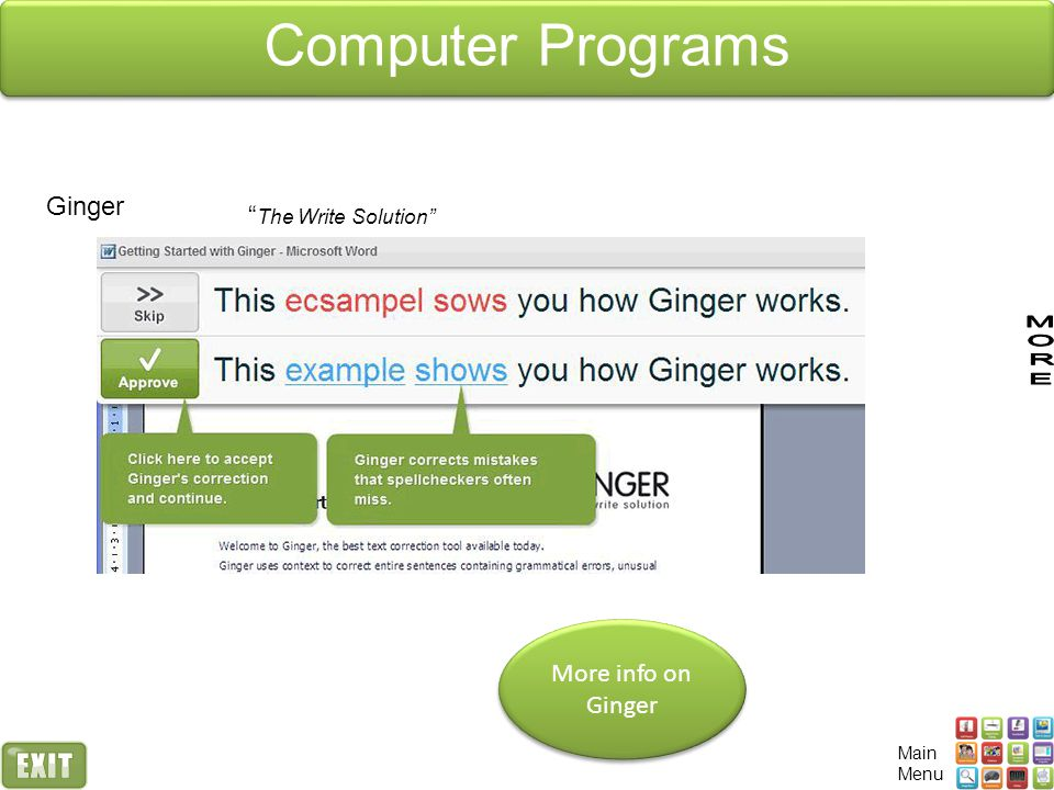 Computer Programs Ginger The Write Solution More info on Ginger Main