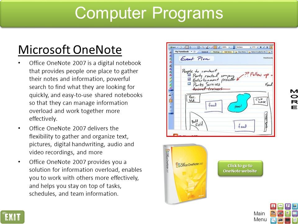 Click to go to OneNote website