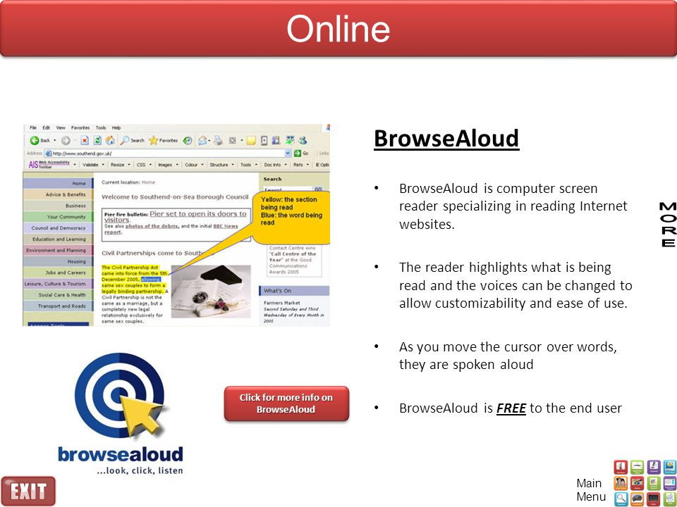 Click for more info on BrowseAloud