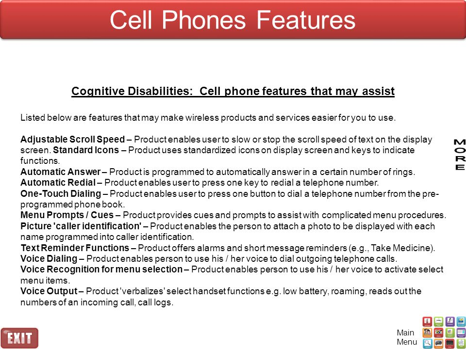 Cognitive Disabilities: Cell phone features that may assist