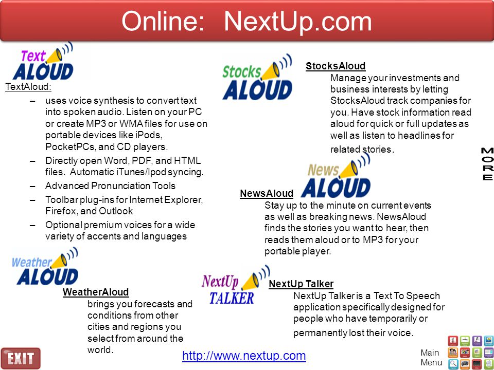 Online: NextUp.com http://www.nextup.com StocksAloud