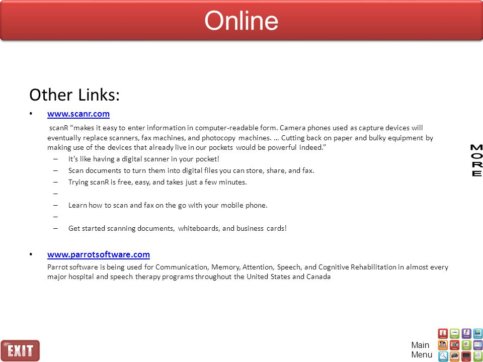 Online Other Links: www.scanr.com