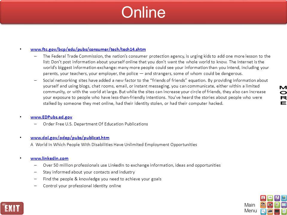 Online www.ftc.gov/bcp/edu/pubs/consumer/tech/tech14.shtm