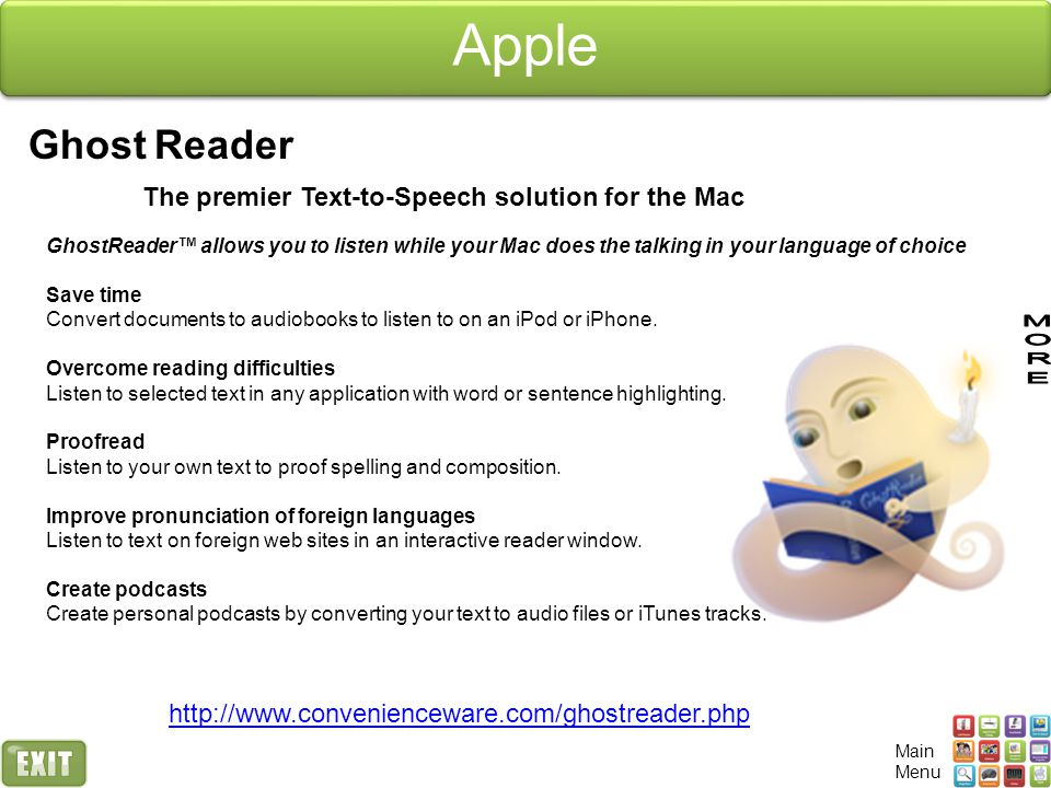 Apple Ghost Reader The premier Text-to-Speech solution for the Mac