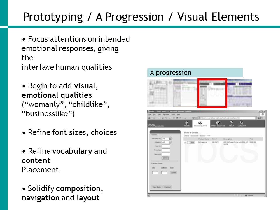 Prototyping / A Progression / Visual Elements