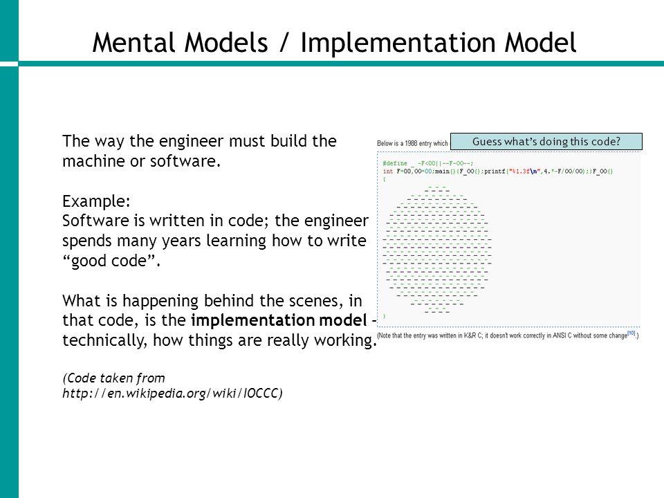 Mental Models / Implementation Model