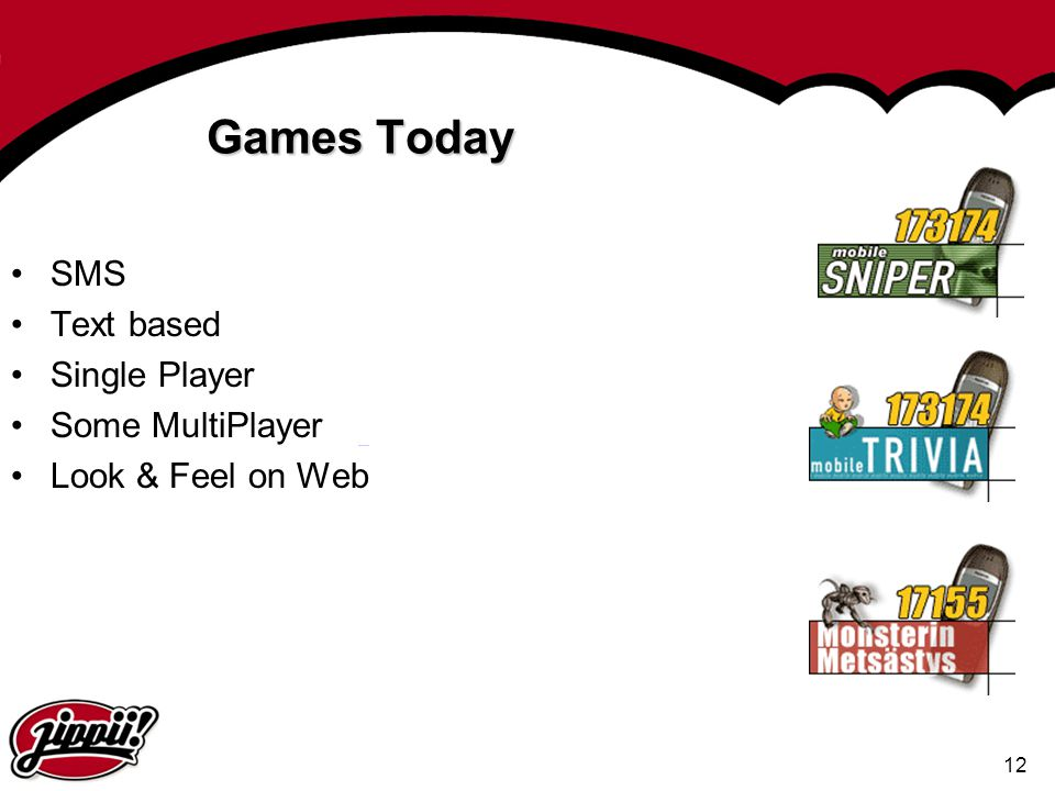 Games Today SMS Text based Single Player Some MultiPlayer