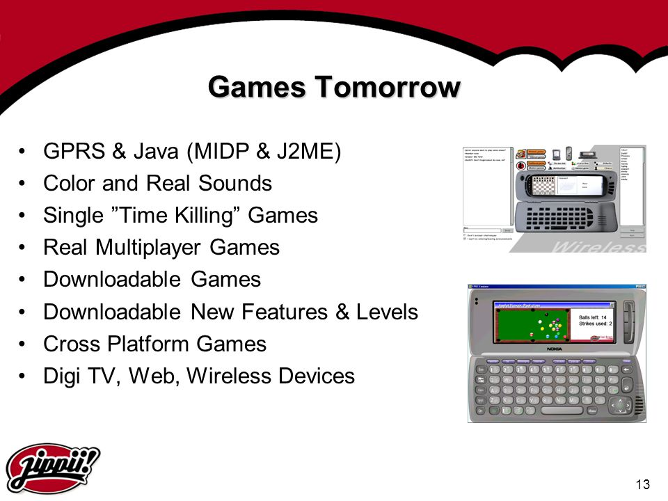 Games Tomorrow GPRS & Java (MIDP & J2ME) Color and Real Sounds