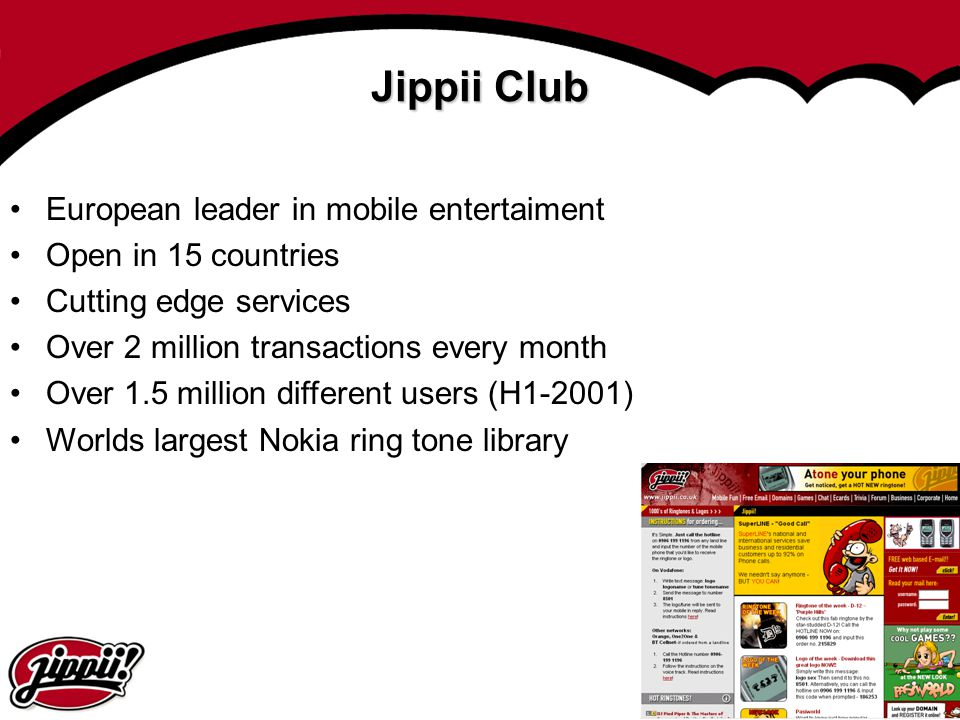 Jippii Club European leader in mobile entertaiment