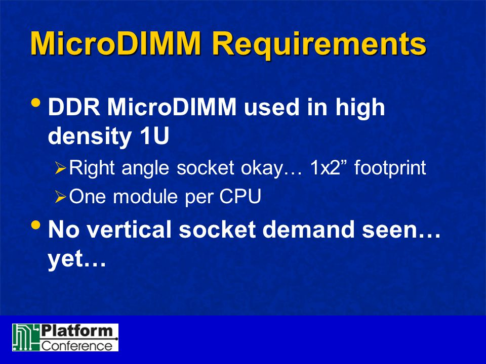 MicroDIMM Requirements