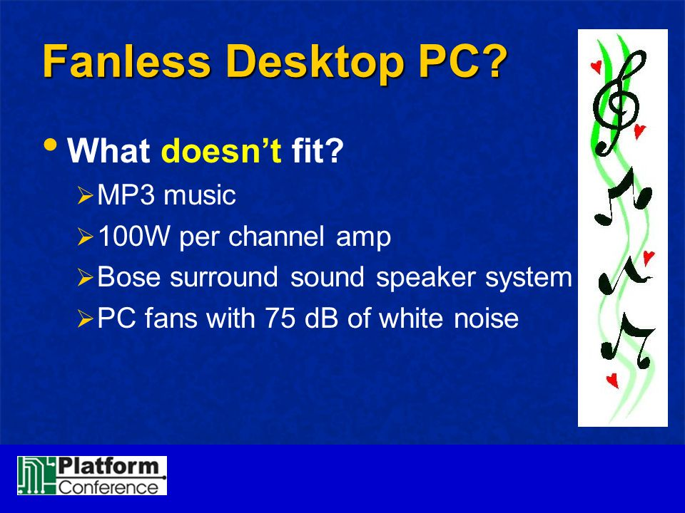 Fanless Desktop PC What doesn't fit MP3 music 100W per channel amp