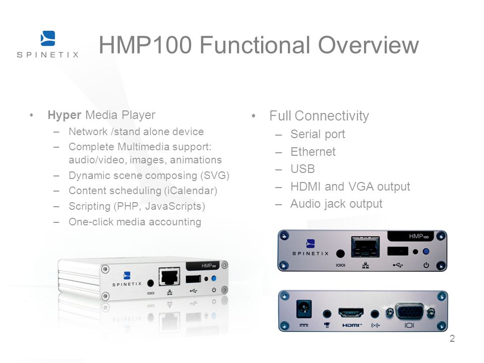 HMP100 Functional Overview