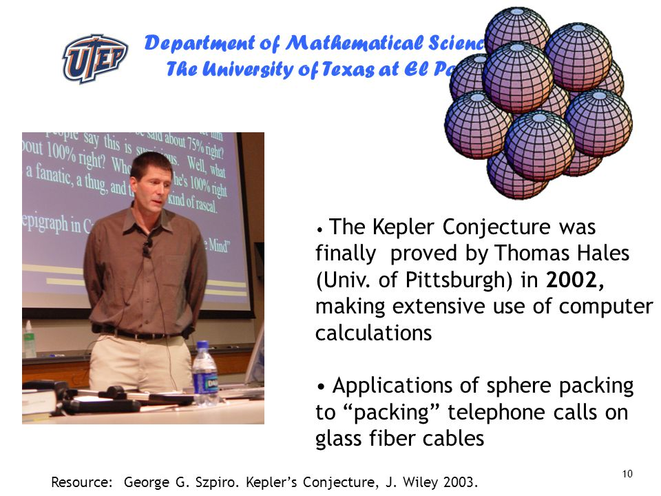 The Kepler Conjecture was finally proved by Thomas Hales (Univ