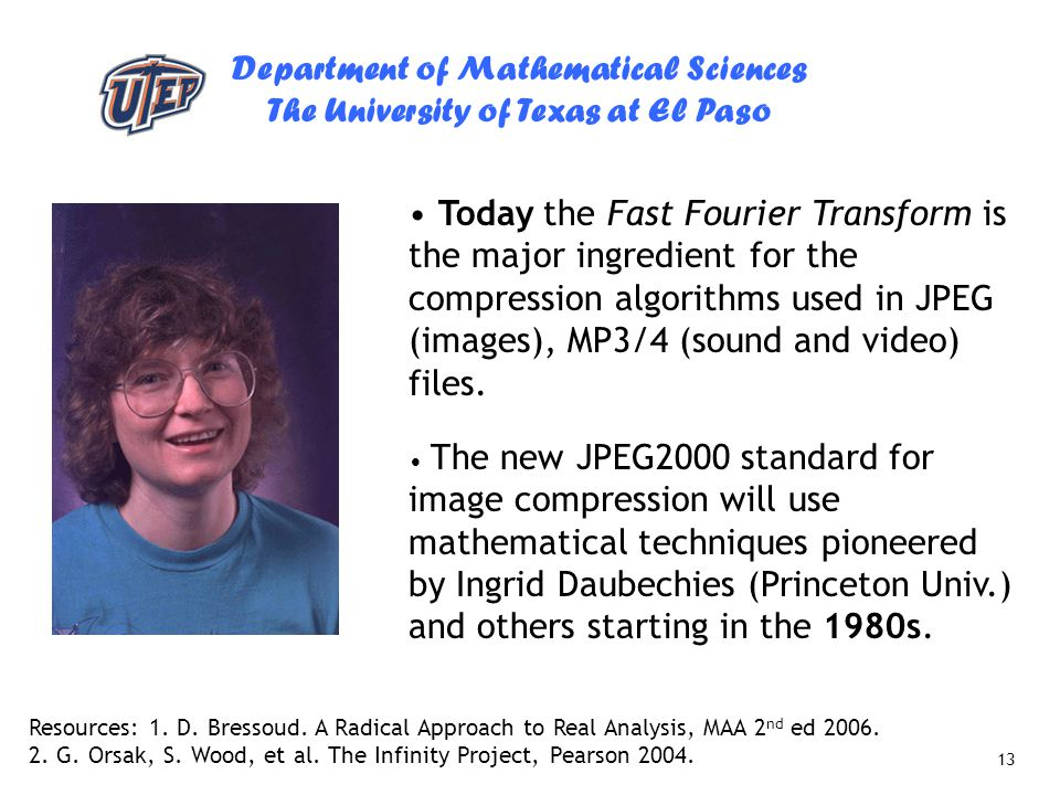 Today the Fast Fourier Transform is the major ingredient for the compression algorithms used in JPEG (images), MP3/4 (sound and video) files.