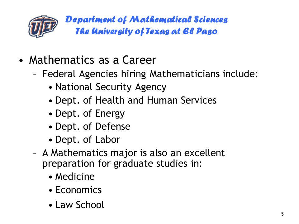 Mathematics as a Career
