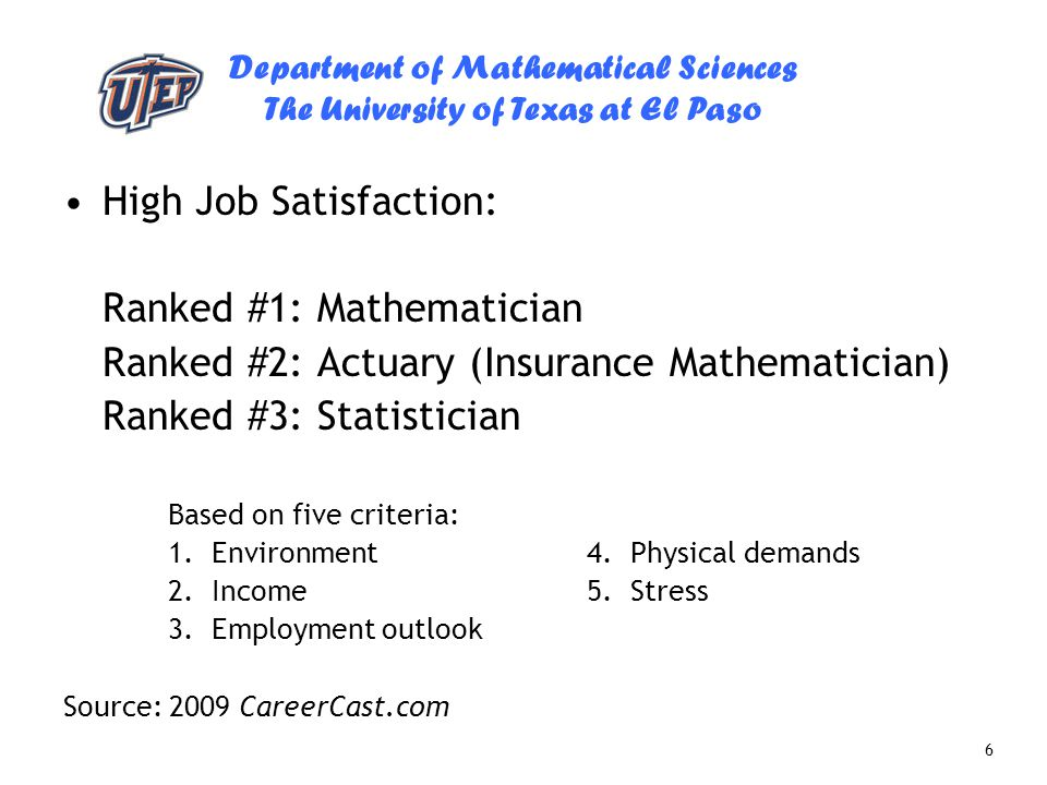 High Job Satisfaction: Ranked #1: Mathematician