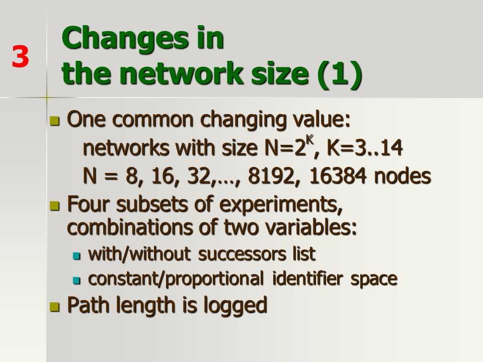 Changes in the network size (1)