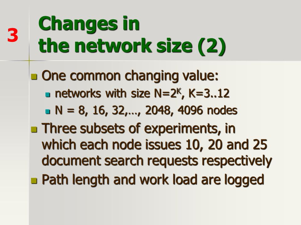Changes in the network size (2)