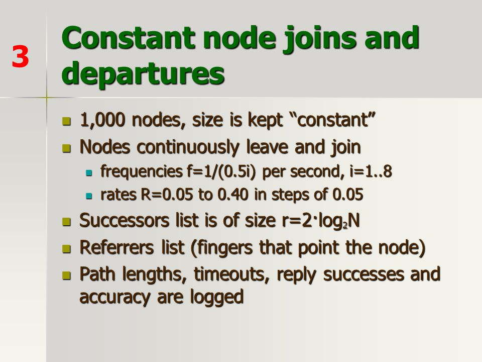 Constant node joins and departures