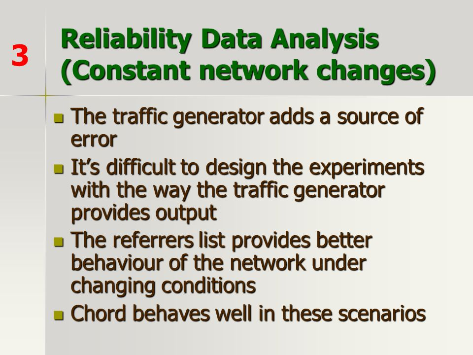 Reliability Data Analysis (Constant network changes)