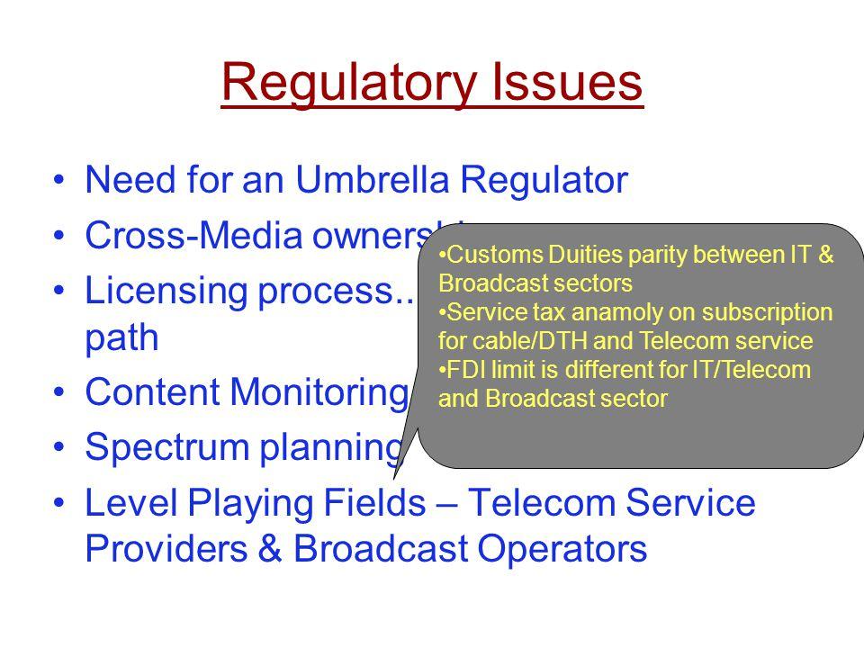 Regulatory Issues Need for an Umbrella Regulator Cross-Media ownership
