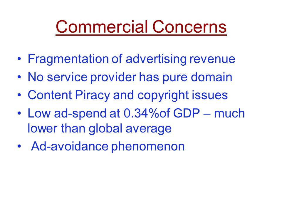 Commercial Concerns Fragmentation of advertising revenue