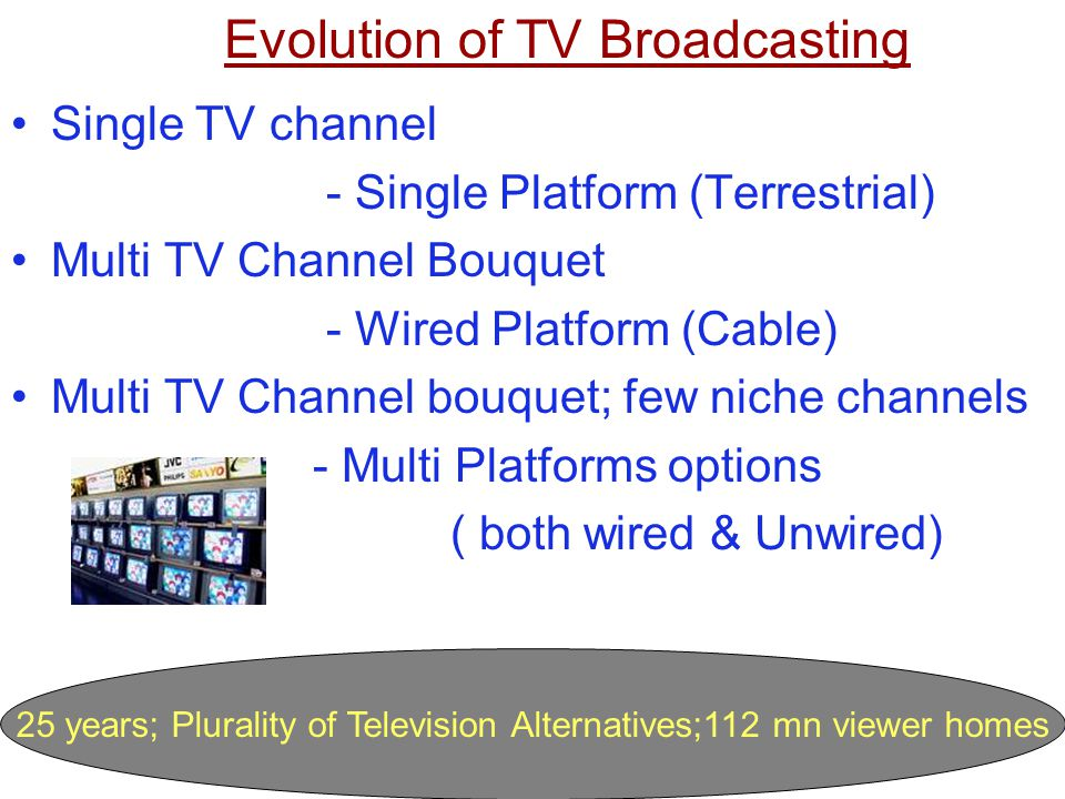 25 years; Plurality of Television Alternatives;112 mn viewer homes