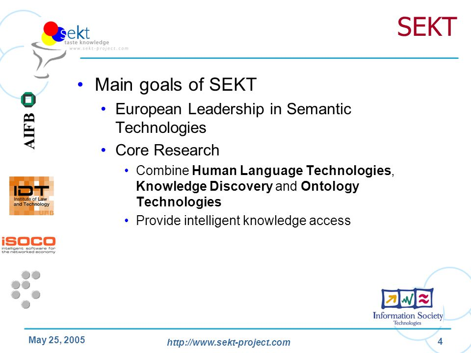 SEKT Main goals of SEKT European Leadership in Semantic Technologies
