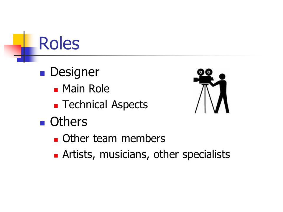 Roles Designer Others Main Role Technical Aspects Other team members
