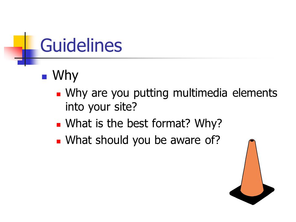 Guidelines Why Why are you putting multimedia elements into your site