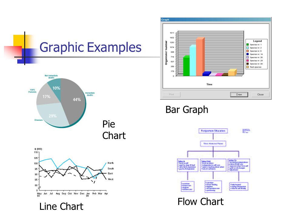 Graphic Examples Bar Graph Pie Chart Flow Chart Line Chart