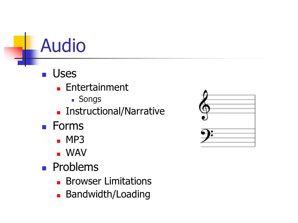 Audio Uses Forms Problems Entertainment Instructional/Narrative MP3