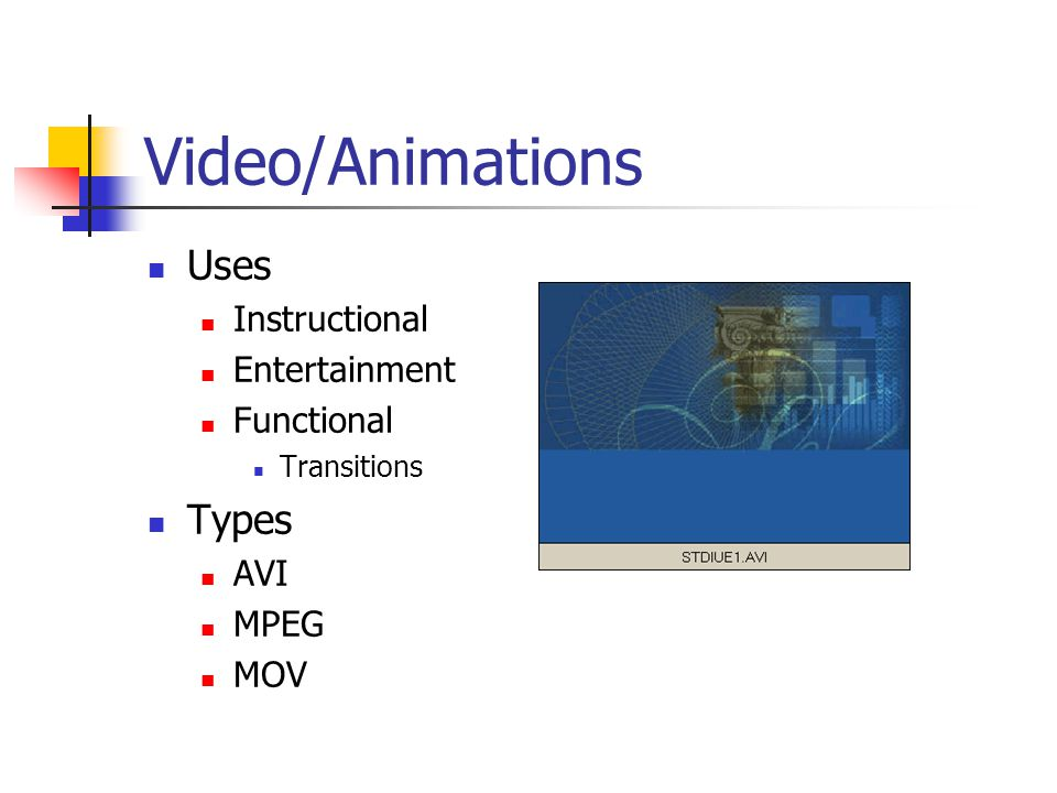 Video/Animations Uses Types Instructional Entertainment Functional AVI