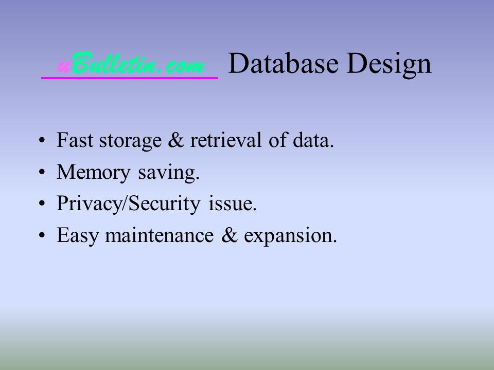 uBulletin.com Database Design