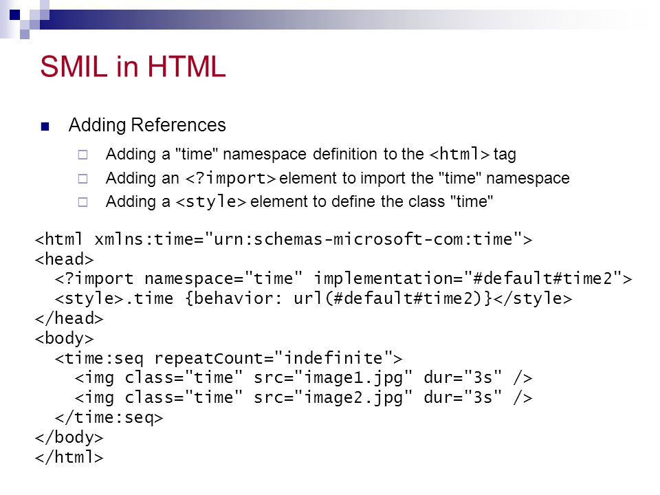 SMIL in HTML Adding References