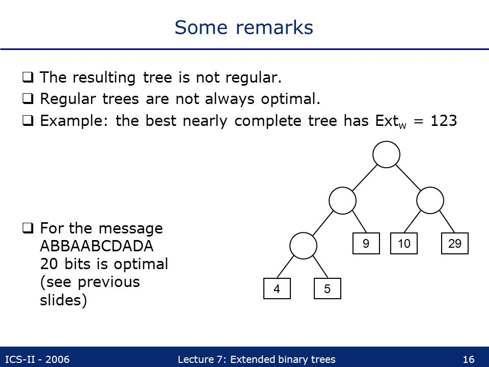 Some remarks The resulting tree is not regular.
