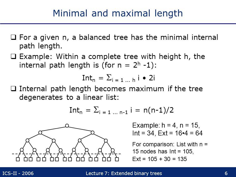 Minimal and maximal length