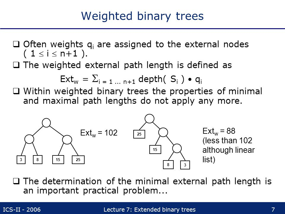 Weighted binary trees Often weights qi are assigned to the external nodes ( 1  i  n+1 ). The weighted external path length is defined as.