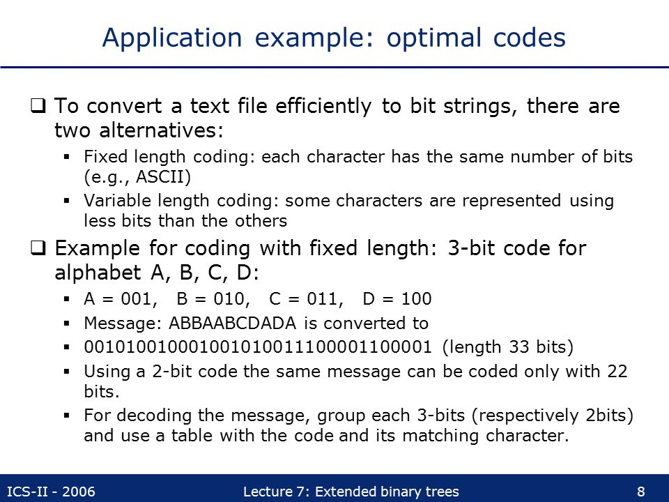 Application example: optimal codes