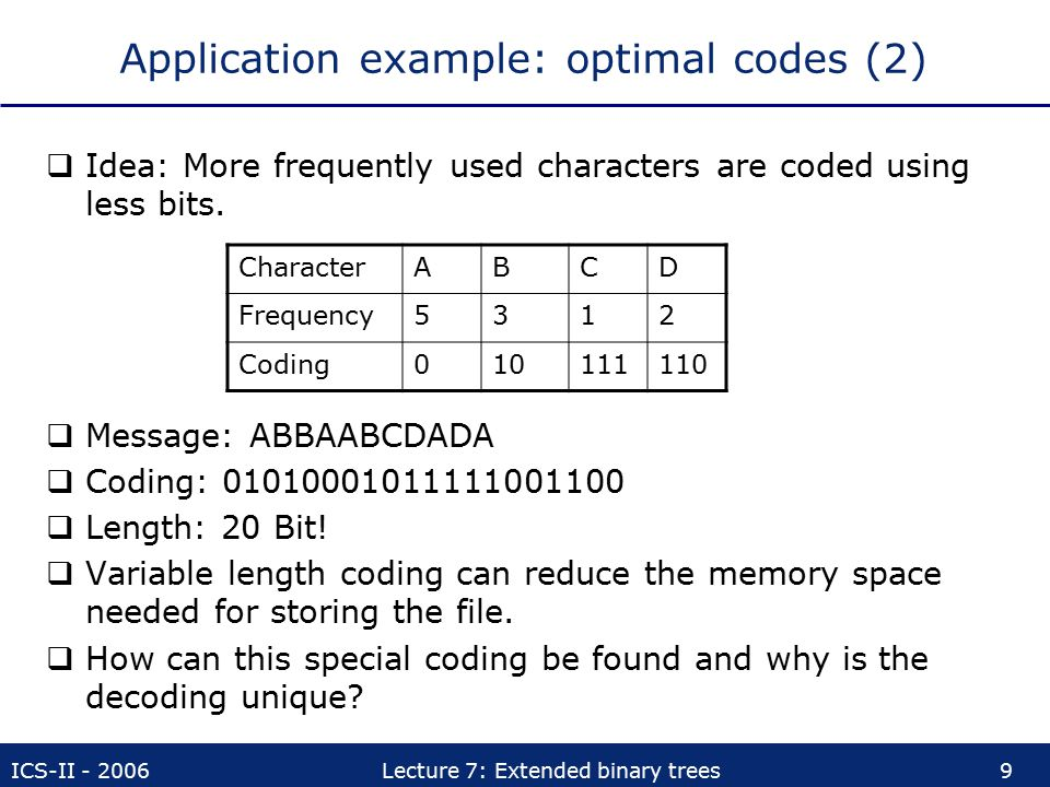 Application example: optimal codes (2)