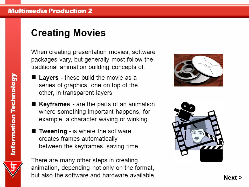 Creating Movies When creating presentation movies, software